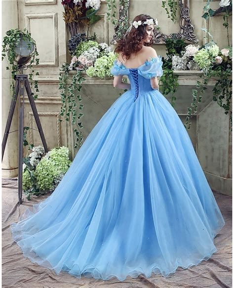 Non Traditional Blue Cinderella Princess Bridal Gowns With