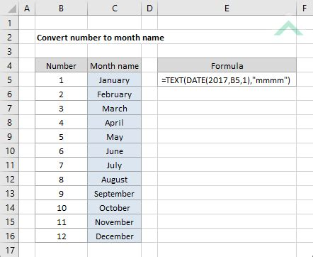 Convert number to month name | Excel, VBA