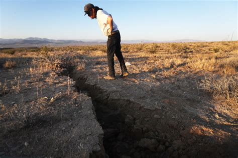 Ground cracks from California earthquakes visible from