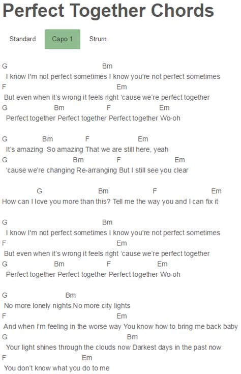 Perfect Together Chords Justin Bieber | Perfect together