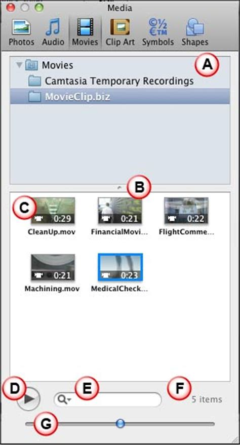 Media Browser - Movies Tab in PowerPoint 2011 for Mac