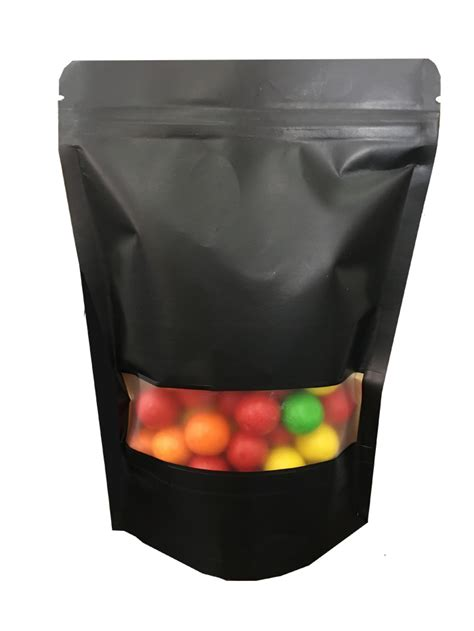BLACK COLOR KRAFT POUCH BAG WITH WINDOW AND ZIPLOCK
