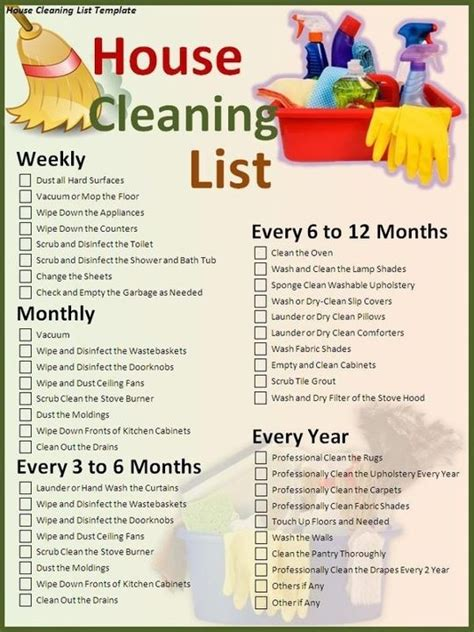 Weekly, Monthly, Yearly Cleaning Suggestions | house