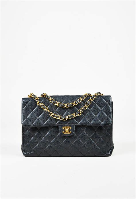 "Chanel Quilted Caviar Leather ""maxi Classic Single Flap"