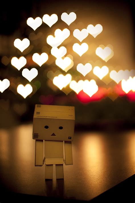 Danbo in love   Some bokeh hearts! Made with a simple self
