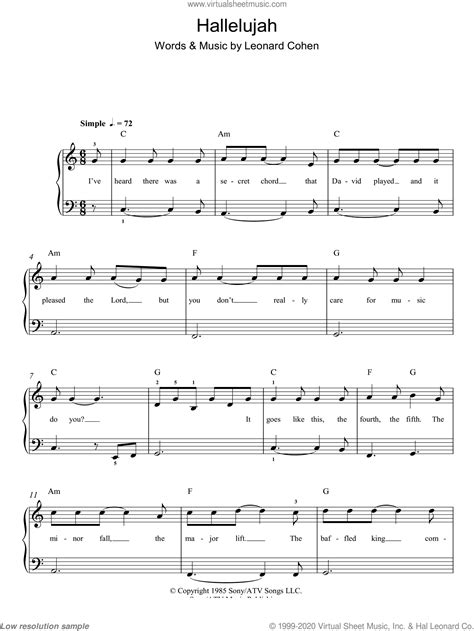 Wainwright - Hallelujah sheet music for piano solo