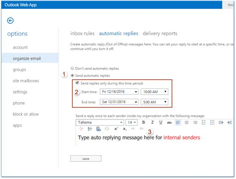 How to set away messages (out of office) in Outlook Web App?