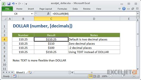 How to use the Excel DOLLAR function | Exceljet