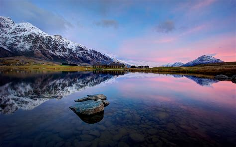 Wallpaper Lake, Mountains, Jack's Point, Queenstown, HD