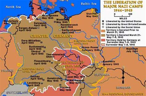 Map of Allied Liberated Concentration Camps