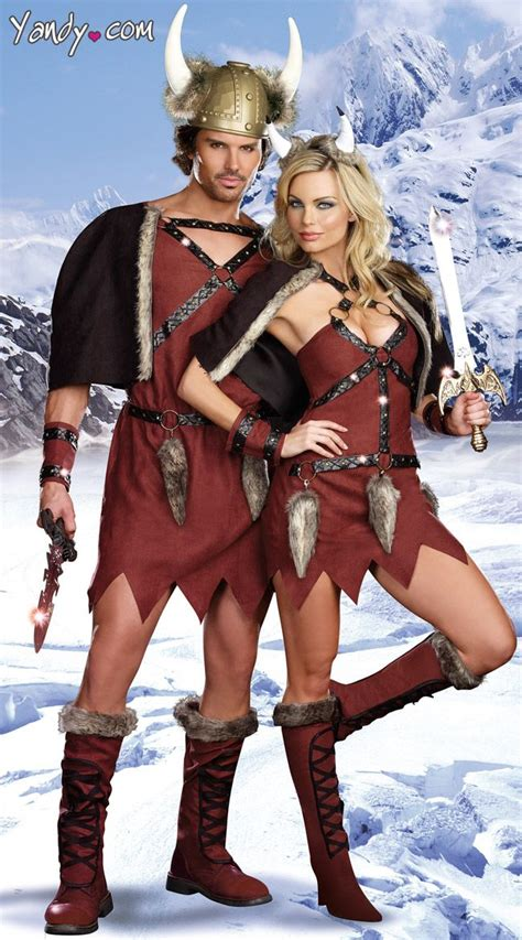 Viking Conquerors Couples Costume, Adult Vikings Couple