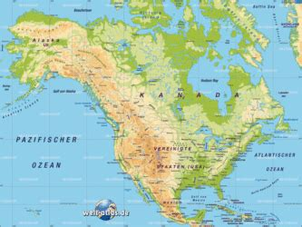 Map of North America - Map in the Atlas of the World