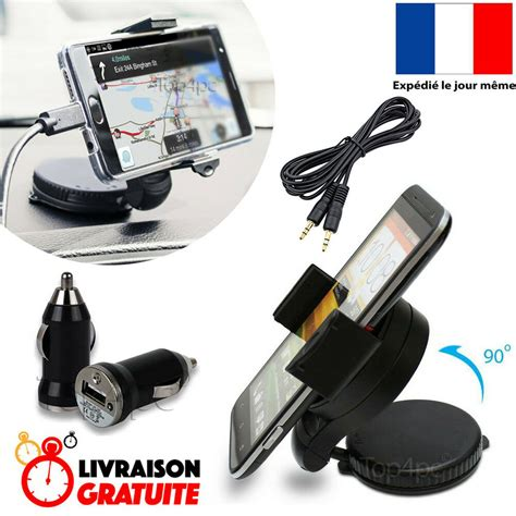PACK SUPPORT VOITURE + CHARGEUR + PRISE JACK POUR SAMSUNG