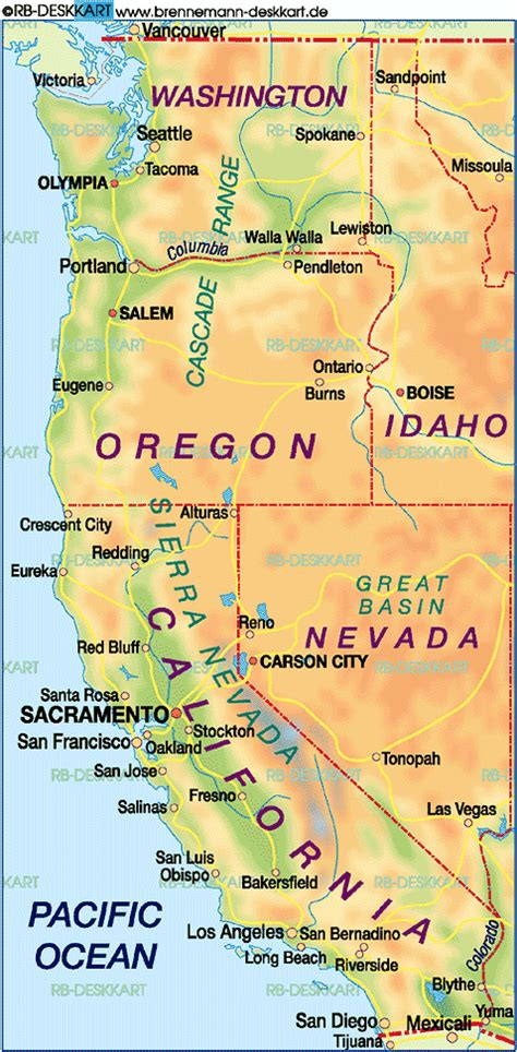 Map of West Coast, USA (United States, USA) - Map in the
